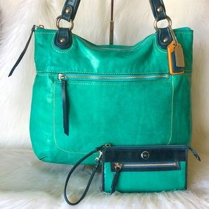 COACH 2 pc PoPPy Spectator Glam ToTe & Wallet